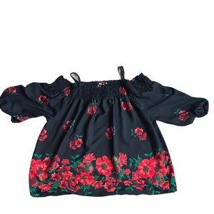 Indulge Black Floral Cold Shoulder Flowy Blouse